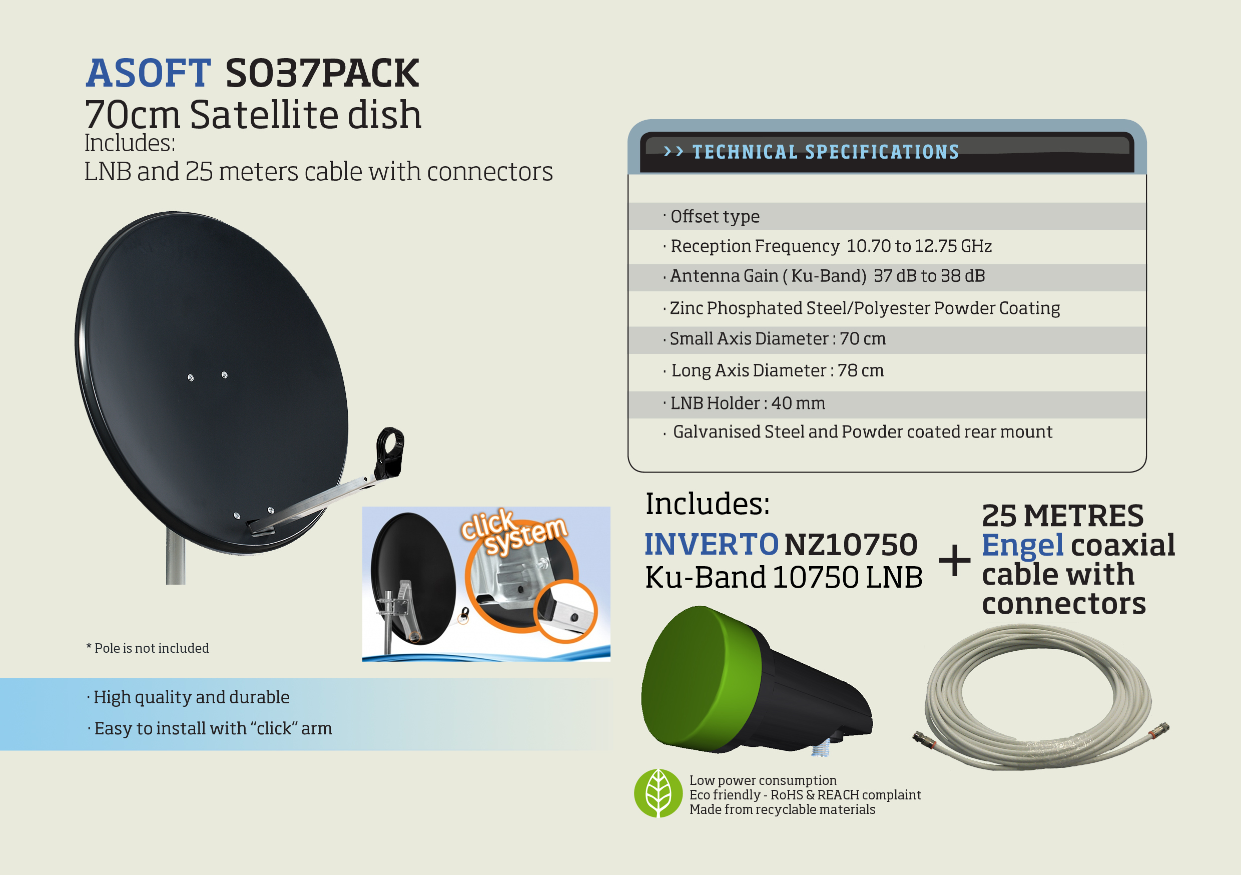70cm Satellite Dish Pack